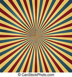 circo, cores, sunburst, fundo