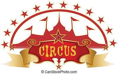 circo, disegno, rosso