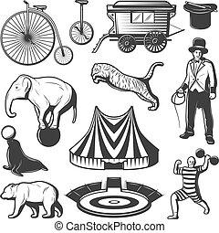 circo, elementos, colección, vendimia