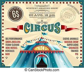 circo, esecuzione, annuncio, retro, manifesto