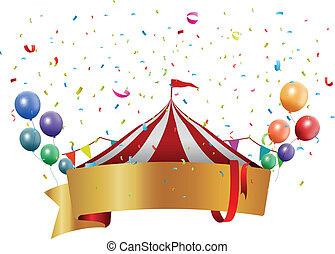 circo, fondo, con, balloon
