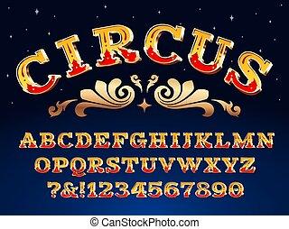 circo, font., carnevale, titolo, alfabeto, carattere tipografico, steampunk, illustrazione, segno, vittoriano, vettore, signage., vendemmia