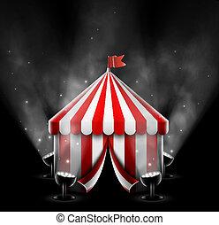 circo, holofotes, barraca