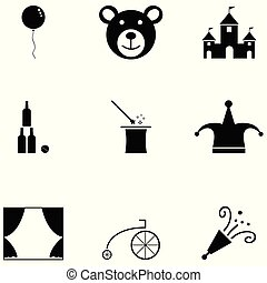 circo, icona, set