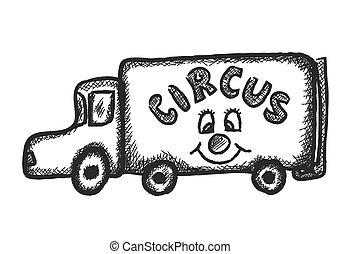 circo, illustrazione, camion, scarabocchiare