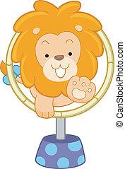 circo, leão, pular, através, aro, vista dianteira