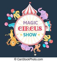 circo, magia, rotondo, composizione