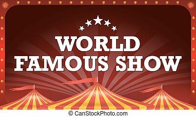 circo, manifesto, bandiera, vector., vendemmia, magia, show., classico, grande, top., marquee., arti, festival., illustrazione