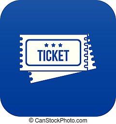 circo, mostra, biglietti, icona, digitale, blu