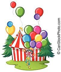 circo, palloni, pagliaccio, colorito