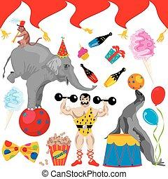 circo, partido aniversário, corte arte, elem