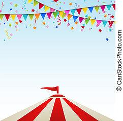 circo, rayado, tienda, con, banderas