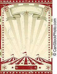 circo, retro, vermelho