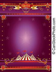 circo, roxo, cartaz