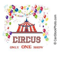 circo, scheda, felice