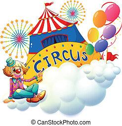 circo, signboard, palhaço, sentando