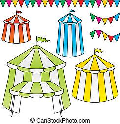 circo, tende, vettore