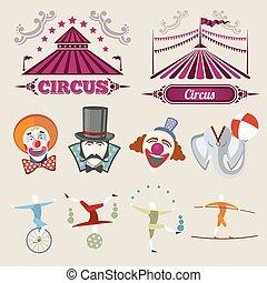 circo, vector, vendimia, estilo, hipster, conjunto, plano