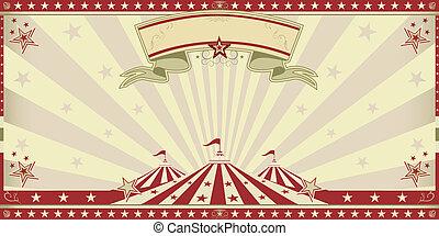 circo, vermelho, convite