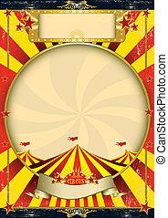 circo, vindima, amarelo vermelho, cartaz