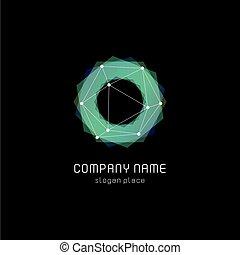 circolare, forme, insolito, colorito, astratto, polygonal, fondo., vettore, nero, logotypes, geometrico, logo.