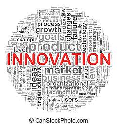 circolare, innovazione, etichette, disegno, parola