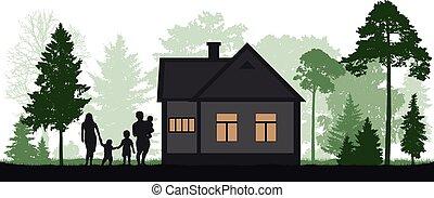 circondato, silhouette, proprietà, famiglia, paese, albero, casa, foresta, vector.