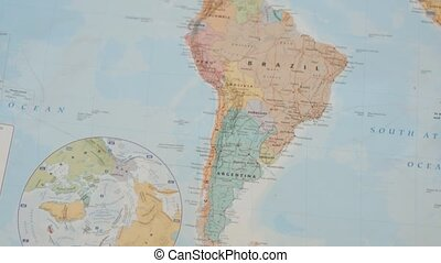 Circling FHD Video of South America on a Colorful World Map