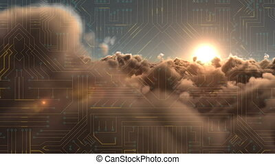 Circuit against clouds at sunset - Digitally generated...