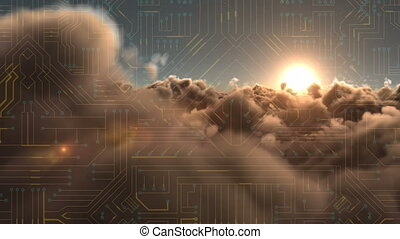 Circuit against clouds at sunset - Digitally generated ...