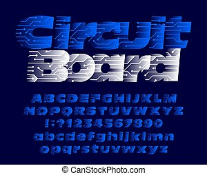 Circuit board alphabet font. Uppercase and lowercase.