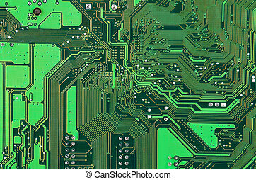 Circuit board background - Close up of a printed green...