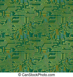 Electronic circuit board. Tileable seamless repeating vector background