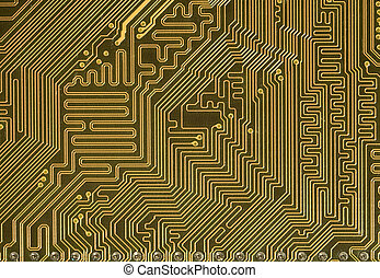 Circuit board background in hi-tech style - Close-up green...