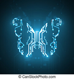 Circuit board background, technology illustration, butterfly illustration