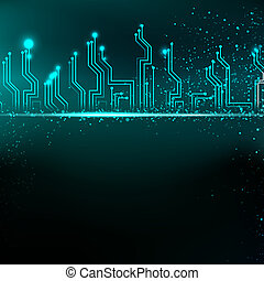 Circuit board background with blue electronics.