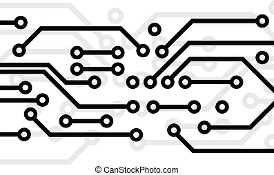 Black circuit board on white background
