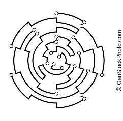 Circuit board circular frame. Abstract connection ring. Futuristic motherboard scheme. Black and white technology structure design element. High tech circuit round diagram. Vector Illustration.