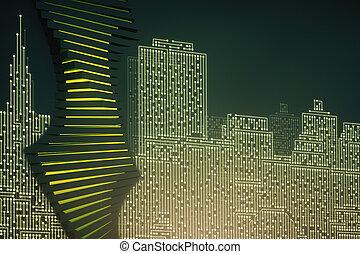 Circuit board city backdrop