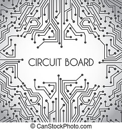 circuit board design over gray background vector illustration