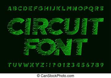 Circuit board font. Cyber vector alphabet.