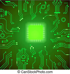 Circuit board green background. motherboard Processor and chip, cpu computer design,