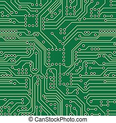 Green computer circuit board. Seamless pattern. Vector