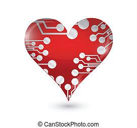 circuit board heart illustration design