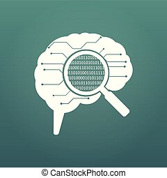 circuit board human brain. Concept illustration of cpu in the center of computer system. Matrix in magnifying glass. vector illystration isolated on modern background.