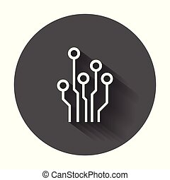 Circuit board icon. Technology scheme symbol flat vector illustration with long shadow.