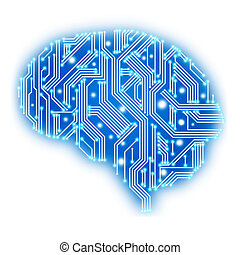 Circuit board in human brain form. Technological...