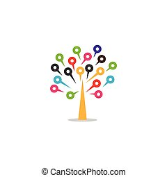 Circuit board in tree logo template