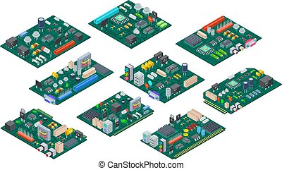 Circuit board isometric. Electronic computer components...