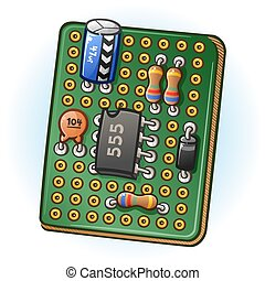 Circuit Board PCB Cartoon Illustration - A green perforated...